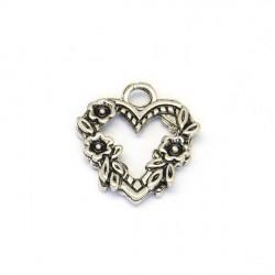 Pendentif breloque en métal Coeur fleuri
