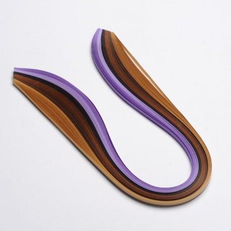 120 Bandes papier pour Quilling - 5 mm - dégradés violet et marron