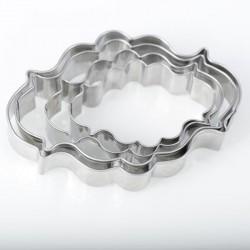 4 Emporte-pièces métalliques Etiquettes ovales