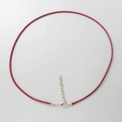 Collier cordon coton ciré, rouge foncé, 2 mm
