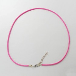 Collier cordon coton ciré, rose, 2 mm