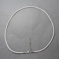 Collier cordon coton ciré, blanc, 2 mm