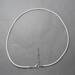 Collier cordon coton ciré, blanc, 2 mm