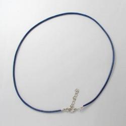 Collier cordon coton ciré, bleu foncé, 2 mm