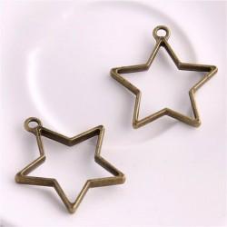 Pendentif contour étoile 32 x 35 mm, bronze antique