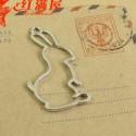 Pendentif contour Lapin 23 x 44 mm, argenté