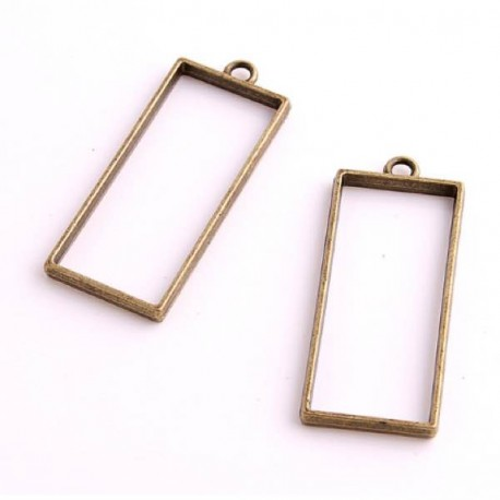 Pendentif contour Rectangle 20 x 49 mm, bronze antique