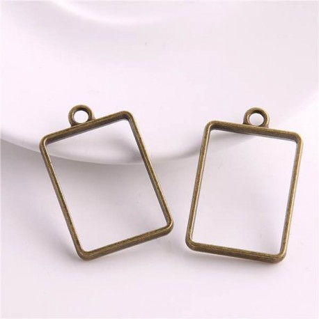 Pendentif contour Rectangle 21 x 34 mm, bronze antique