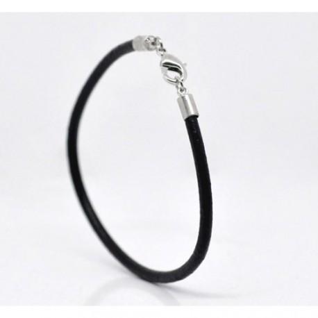 Bracelet cuir noir 18 cm