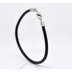 Bracelet cuir noir 19 cm