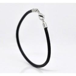 Bracelet cuir noir 20 cm