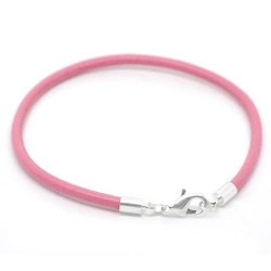 Bracelet cuir rose 18 cm