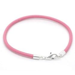 Bracelet imitation cuir rose 18 cm