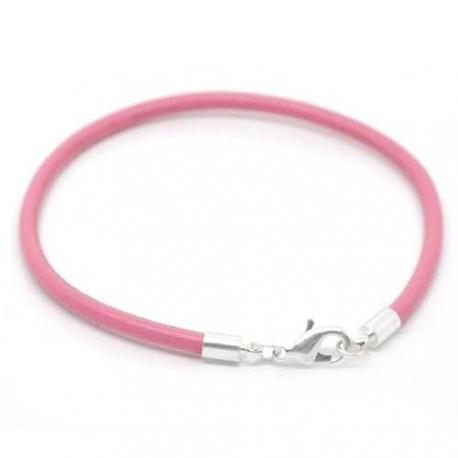 Bracelet cuir rose 20 cm
