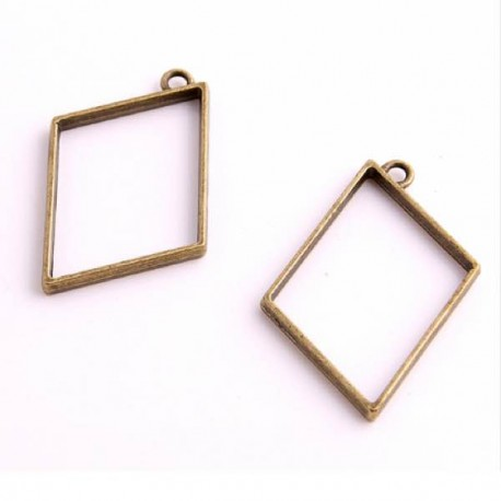 Pendentif contour Rectangle penché 34 x 47 mm, bronze antique