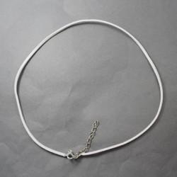 Collier cordon suédine, blanc, 2 mm