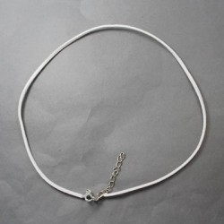 Collier cordon suédine, blanc, 2 mm