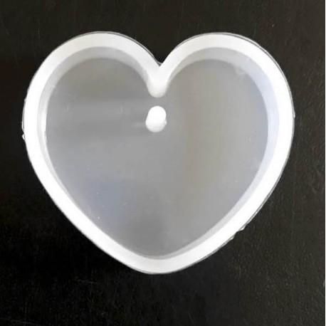 Moule silicone pour résine Coeur, avec trou