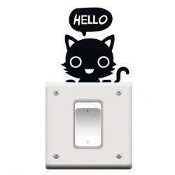 Autocollant mural Chat noir Hello - 10 x 9 cm