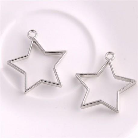 Pendentif contour étoile 32 x 35 mm, argenté