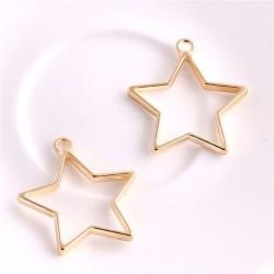 Pendentif contour étoile 32 x 35 mm, doré