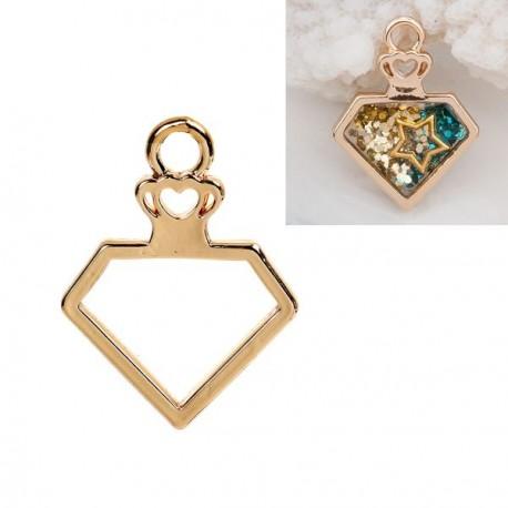 Pendentif contour Diamant 23 x 30 mm, doré
