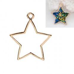 Pendentif contour Pentacle étoile 24 x 39 mm, doré