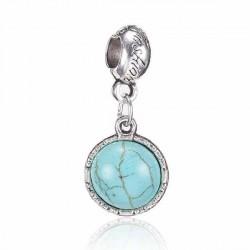 Charm Pendentif rond avec Turquoise style Pandora - à l'unité