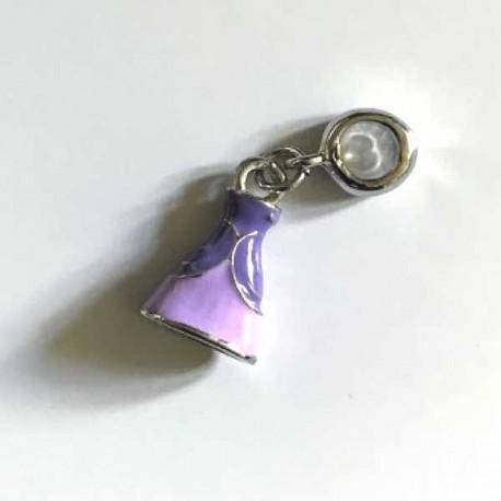 Charm pendentif Robe de Princesse émail rose et violet style Pandora - à l'unité