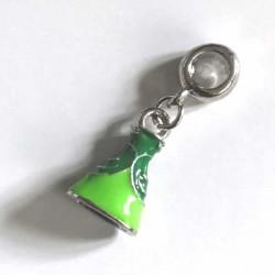 Charm pendentif Robe de Princesse émail vert style Pandora - à l'unité