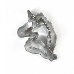 3 emporte-pièces Licornes métalliques pour fimo