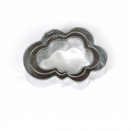 3 emporte-pièces Nuages métalliques pour fimo