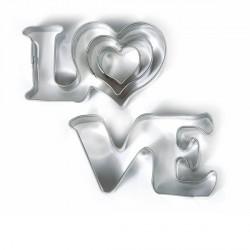 3 emporte-pièces Love métalliques pour fimo