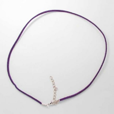 Collier cordon suédine, violet, 2 mm