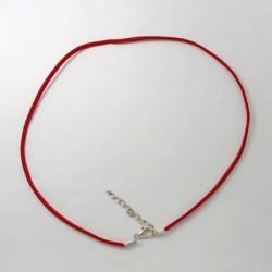 Collier cordon suédine, rouge, 2 mm