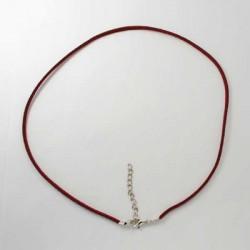 Collier cordon suédine, rouge foncé, 2 mm