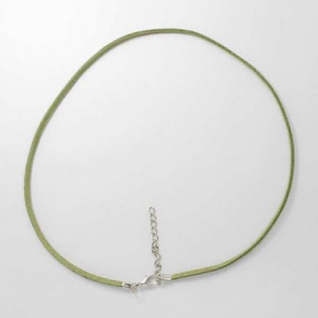 Collier cordon suédine, vert, 2 mm