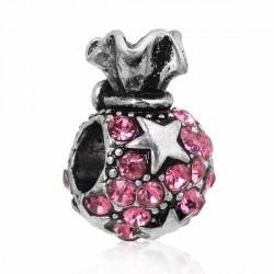 Charm Sac de jouets de Noël strass rose style Pandora - à l'unité