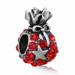 Charm Sac de jouets de Noël  strass rouge style Pandora - à l'unité