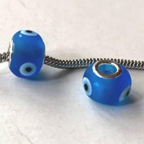 Perle de verre turquoise avec oeil style Pandora - à l'unité