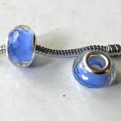Perle en résine bleu facettes transparentes style Pandora - à l'unité