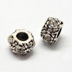 Métal perle ronde gros strass blanc style Pandora - à l'unité