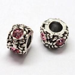 Métal perle ronde gros strass rose style Pandora - à l'unité