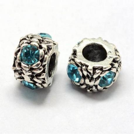Métal perle ronde gros strass turquoise style Pandora - à l'unité