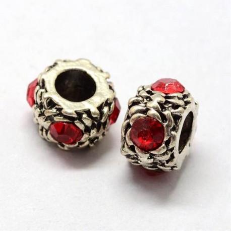 Métal perle ronde gros strass rouge style Pandora - à l'unité