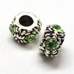Métal perle ronde gros strass vert style Pandora - à l'unité