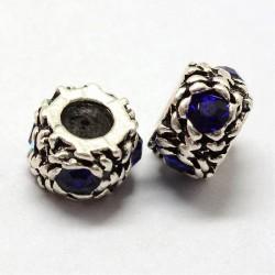 Métal Perle ronde gros strass bleu style Pandora - à l'unité