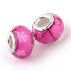 Perle en résine rose flocons blancs style Pandora - à l'unité