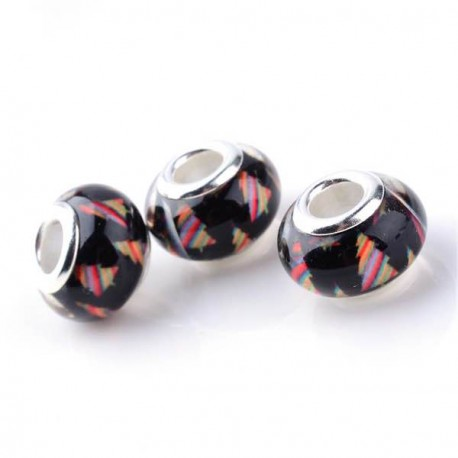 Perle en résine noire Sapin multicolore style Pandora - à l'unité