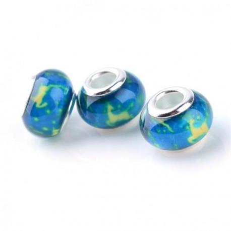 Perle en résine turquoise avec Renne style Pandora - à l'unité